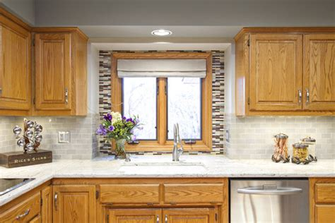 what color subway tile with oak cabinets granite colors that will match with oak cabinets perfectly