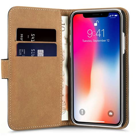 Apple Iphone X Leather Black apple iphone x real leather wallet black