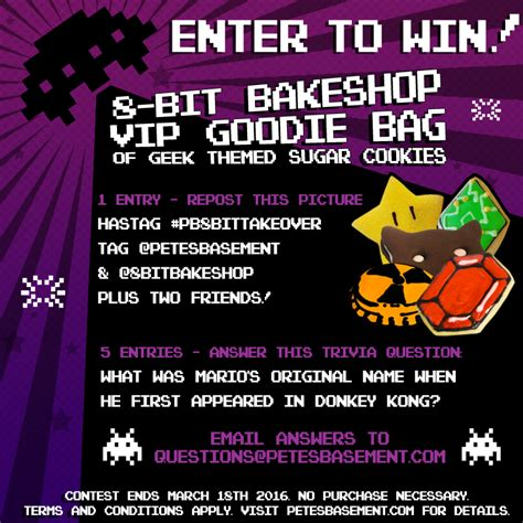 Win A 800 Vip Goodie Bag by Enter To Win 8 Bit Bakeshop Vip Goodie Bag Pete S Basement