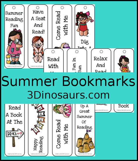 printable summer bookmarks summer bookmarks 3 dinosaurs