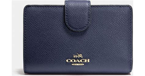 lyst coach medium zip around wallet in crossgrain leather in blue
