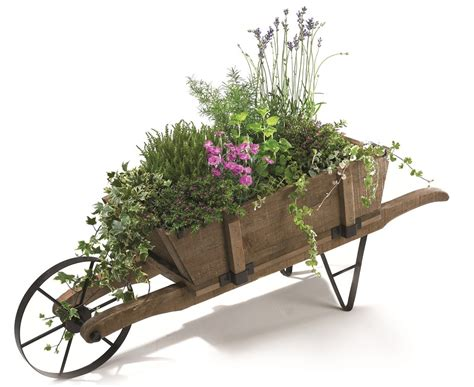 Wooden Wheelbarrow Planter by Decorative Classic Wooden Wheelbarrow Planter
