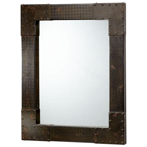 wall mirrors lasalle industrial metal iron modern rectangle wall mirror