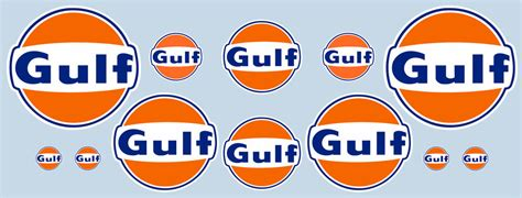 gulf logo gulf logo 12 piece sticker set official licensed gulf