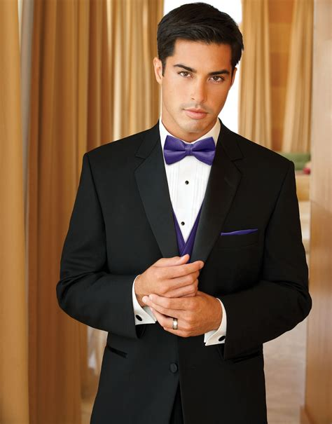 groom black tie with purple shirt by after six