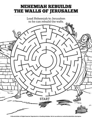 Nehemiah 8 Coloring Pages by Book Of Nehemiah Bible Mazes Can Your Lead Nehemiah
