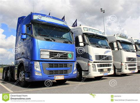 volvo truck group row of volvo trucks editorial image image of duty