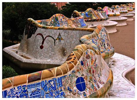 gaudi bench serpentine bench a photo from barcelona catalonia