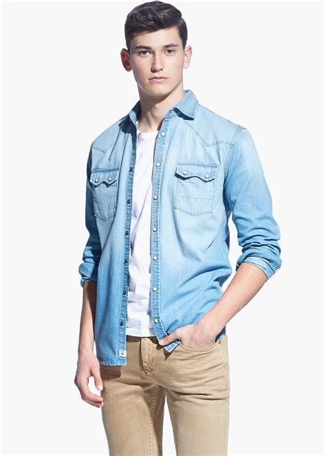 light denim shirt mens jean shirt mens custom shirt