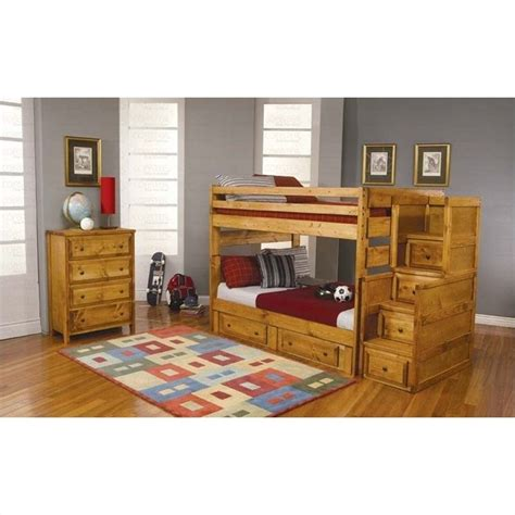coaster bunk bed coaster wrangle hill full over full wood bunk bed in amber