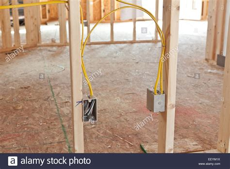 electrical wiring in new home construction stock photo