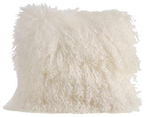mongolian lamb fur design throw pillow contemporary