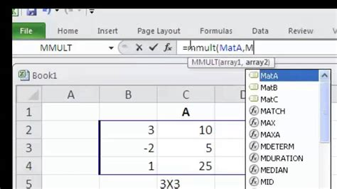 matrix multiplication and inverse using excel youtube