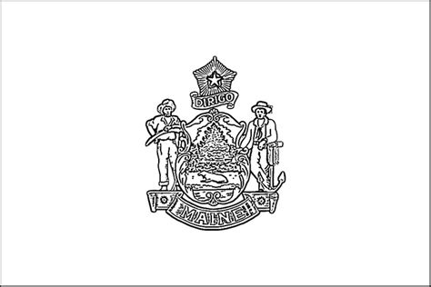 Maine Flag Coloring Page Purple Kitty Maine State Flag Coloring Page
