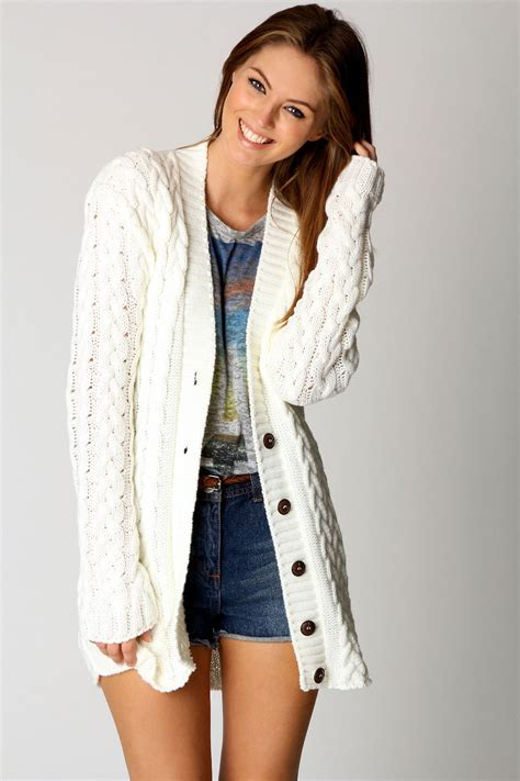 how to knit cardigan sweater boohoo womens cable knit sleeve hip