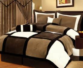 Black And Brown Bedroom Patchwork Bedding Set Brown Bedding Suede Bedding