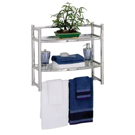 Chrome Bathroom Shelves Tempered Glass Chrome Finish Wall Mount Bathroom Storage