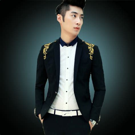 2014 new winter black mens luxury vintage blazer embroidery fashion blue evening dress suit
