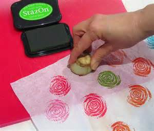 Recycled Gift Wrap - the matchbook quick and easy vegetable printing