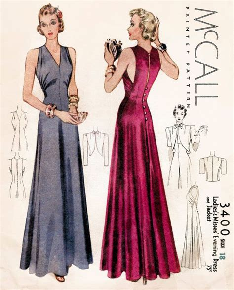 dress pattern in french 1930s 30s vintage evening gown sewing pattern cocktail