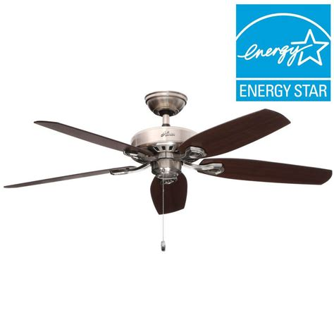builder elite ceiling fan builder elite in indoor brushed nickel ceiling fan