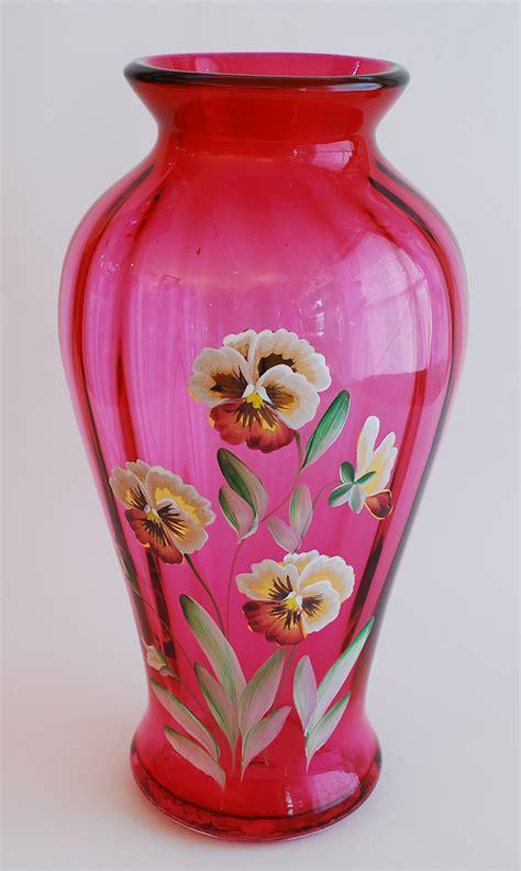 Fenton Cranberry Glass Vase by Antique Cranberry Glass Lustre Candle Ls