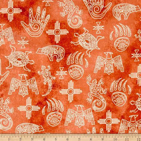 designer fabric native spirit native symbols terracotta discount
