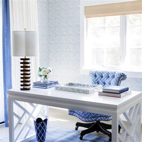 blue and white desk accessories den library office design decor photos pictures ideas
