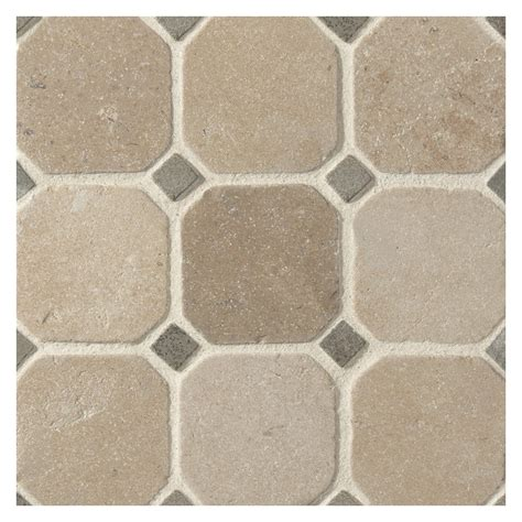 Octagon Tile Patterns Octagon With Dot Mosaic Tile Castelo Gold Limestone With