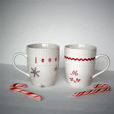 dollar store stenciled gift mugs