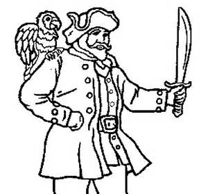 Pirate With Parrot Coloring Page  Coloringcrewcom sketch template