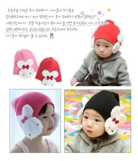 Topi Kelinci Rajut Bunny Winter Hat Korea Rabbit Ears Knitted Hat for baby shop