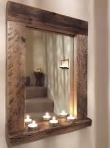 Wooden Bathroom Mirror With Shelf Wooden Wood Mirror With Shelf Handmade Reclaimed Wood Pine Rustic Bespoke Ebay