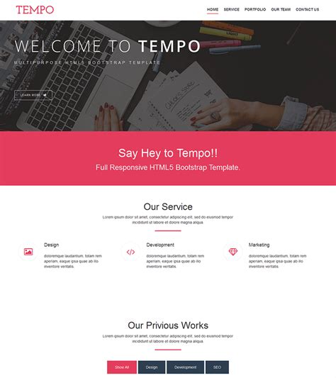 bootstrap themes free pink tempo free onepage bootstrap theme bootstrapmade