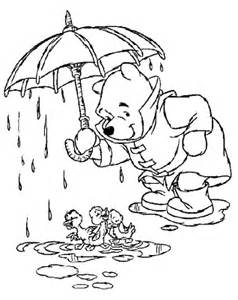 rainy day coloring pages disney coloring pages winnie the pooh with ducklings on
