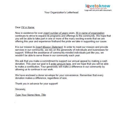 formal letter charity event sles of non profit fundraising letters lovetoknow