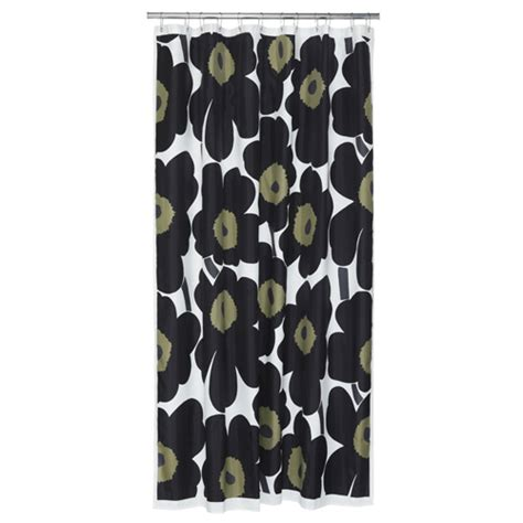 marimekko shower curtains marimekko black unikko long polyester shower curtain