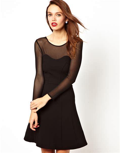 Tendencies Dress Deyhan Sheer Sleeves lyst connection skater dress with sheer sleeves