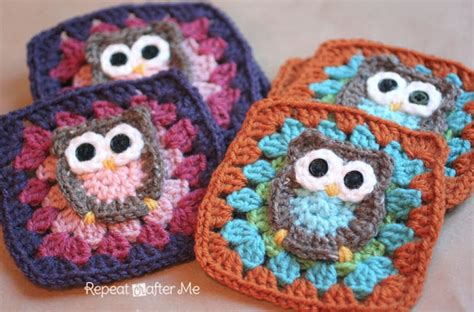 crochet owl motif pattern free owl granny square afghan pattern free video tutorial