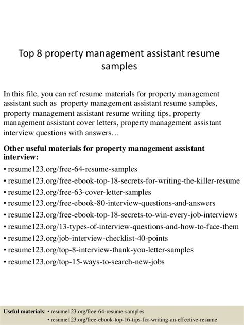 Assistant Property Manager Description by Top 8 Property Management Assistant Resume Sles