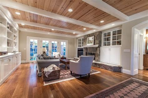Wood Plank Ceiling With White Beams