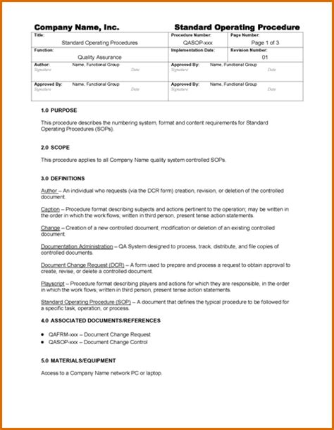 writing standard operating procedures template 5 standard operating procedures template