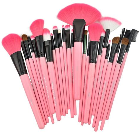 Makeup Brush Kit harajuku 24 pcs set makeup brush cosmetic set kit packed leather pink 183 kawaii