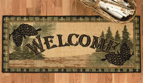 Welcome to the Forest Pinecone Bath Rug