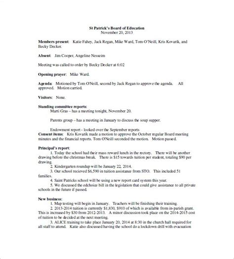School Board Meeting Minutes Template 18 School Meeting Minutes Templates Pdf Doc Free Premium Templates