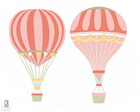 Vintage hot air balloons, vector, flower basket, floral wreaths, ribbons, baby girl shower, clip