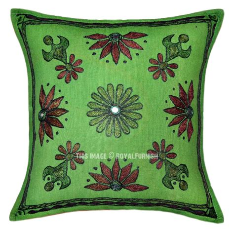 Embroidered Decorative Pillows by Green Decorative Folk Embroidered Boho Throw Pillow Sham