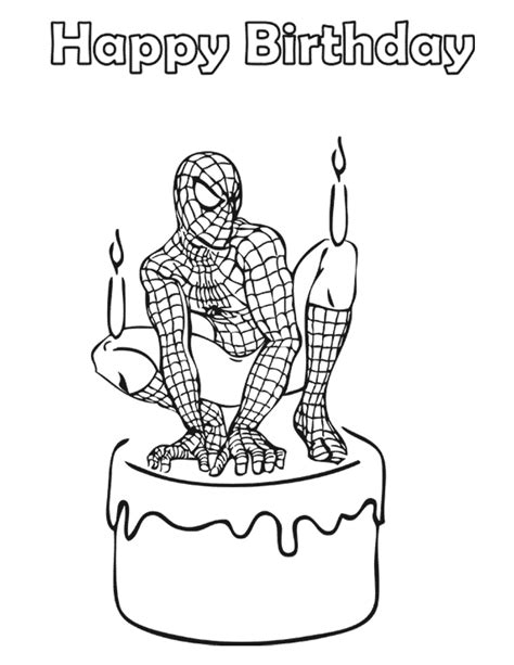 spiderman birthday coloring pages spiderman birthday cake coloring page h m coloring pages
