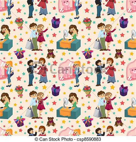 seamless pattern with shopping icons vectors of shopping people seamless pattern csp8590883