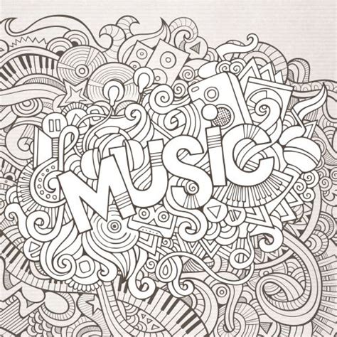 music black and white doodle coloring coloring books
